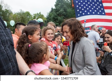 Des Moines, Iowa, USA September 21, 2019 Presidential candidate Kamala Harris (D- California) speaks to supporters at the Polk County Iowa Democrats annual Steak Fry in Des Moines, Iowa.