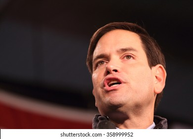 DES MOINES, IOWA-OCTOBER 31, 2015 Marco Rubio speaks at a Republican rally