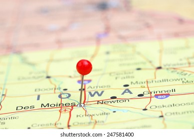 Des Moines pinned on a map of USA