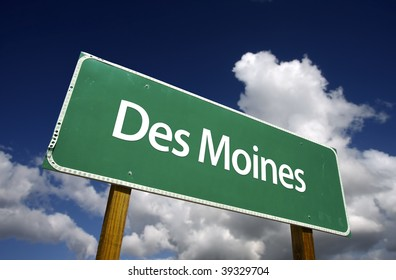 Des Moines Road Sign with dramatic blue sky and clouds - U.S. State Capitals Series.