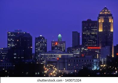 Des Moines Skyline at night, Iowa, USA