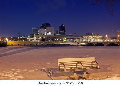 Des Moines skyline with snowy background. Des Moines, Iowa, USA.