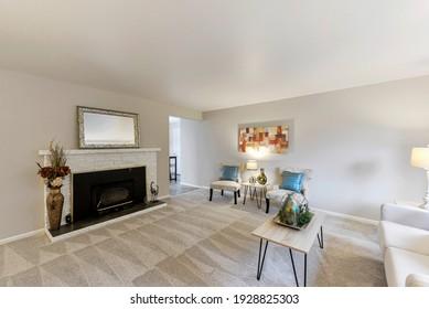 Des Moines, WA, USA - Feb. 25, 2021: Modern residential living room interior