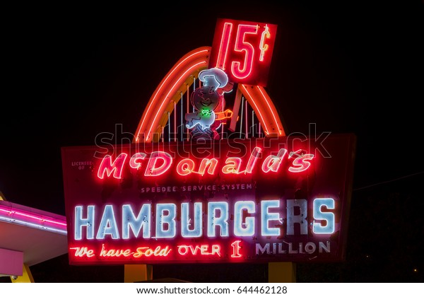 Des Plaines, IL - May 20, 2017: First ever location of McDonald's, located at 400 Lee St in Des Plaines, IL, at night, which is now a McDonald's Museum, is seen in state of despair.