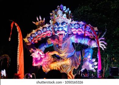 Desa Munggu (Munggu village), Bali, Indonesia. Ogoh-Ogoh, demon statue on Ngrupuk parade conducted on the eve of Nyepi day.