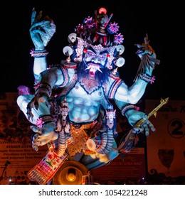 Desa Munggu (Munggu village), Bali, Indonesia. March, 16, 2018. Ogoh-Ogoh, demon statue on Ngrupuk parade conducted on the eve of Nyepi day.