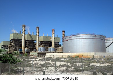 Desalination plant in Sharjah, United Arab Emirates, which turns salt water into drinkable water in this dry part of the world