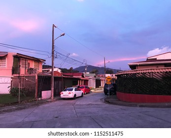 Desamparados, San Jose, Costa Rica. June 18, 2018. A red evening in the neighborhood. Natural phenomenom at sunset