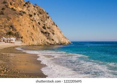 Descanso Beach with blue ocean. Catalina Island, Avalon, California.