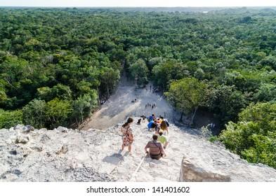 Descending Coba pyramid