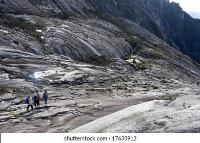 descending down the rocky mountain