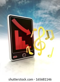 descending graph of music stats on phone display with sky illustration