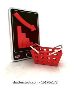descending graph negative stats in trade on smart phone display illustration