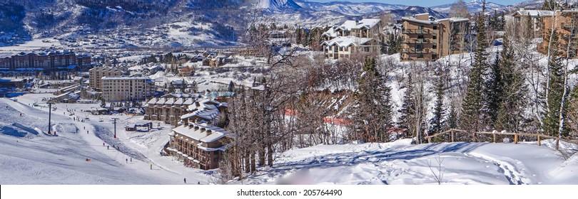 Descending into base area of  Steamboat Springs ski area, Colorado