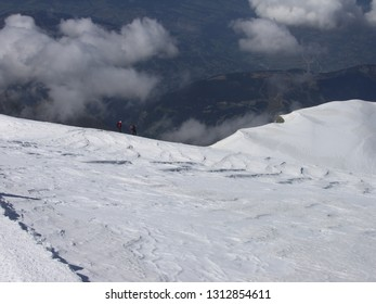 Descending from Mont Blanc summit to Gouter house, French Alps