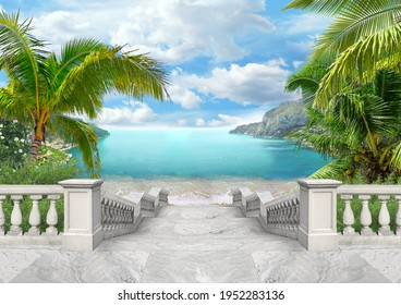 Descent to the blue sea with palm trees