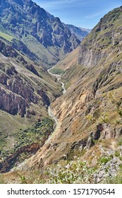 Descent to the colca canyon, one of the deepest in the world. Peru