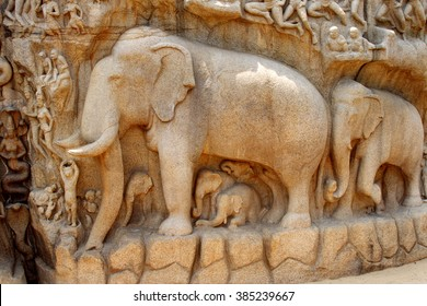 Descent of the Ganges,Bagiratha, Penance rock relief in Mamallapuram,India