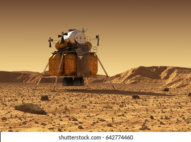 Descent Module Of Interplanetary Space Station On Surface Of Planet Mars. 3D Illustration.