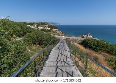 Descent to The St. George Monastery in Sevastopol in Crimea