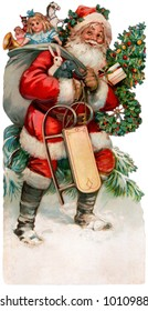 Description: A vintage Christmas illustration of Santa Claus with a bag of gifts (circa 1890)