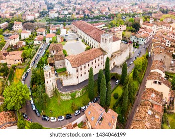 Desenzano Castle aerial panoramic view in Desenzano town on the shore of Lake Garda in Italy