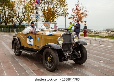 DESENZANO DEL GARDA, BRESCIA, ITALY - 22 OCTOBER 2020: FIAT 514 S (1931) an old racing car in Mille Miglia 2020, a famous and vintage italian historical race