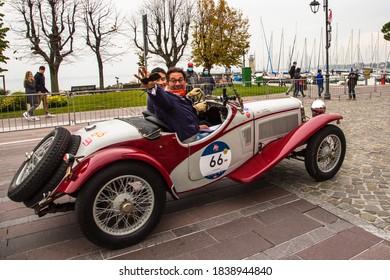 DESENZANO DEL GARDA, BRESCIA, ITALY - 22 OCTOBER 2020: FIAT 514 COPPA DELLE ALPI (1932) an old racing car in Mille Miglia 2020, a famous and vintage italian historical race