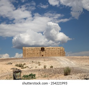 DESERT (100 KM OF AMMAN), JORDAN - APRIL 06, 2014: Qasr Kharana (Kharanah or Harrana), the desert castle in eastern Jordan (100 km of Amman). Built in 8th century AD