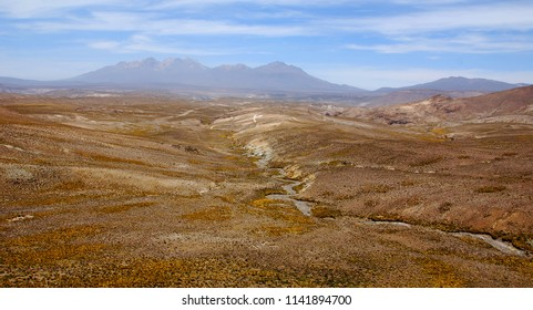 Desert of Arequipa Peru landscape located in the Majes, Sihuas and La Joya plains.