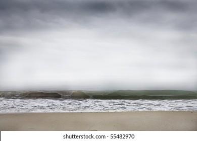 desert beach in elba island in winter