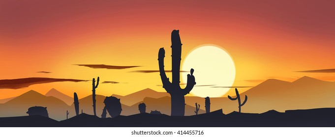 Desert cactus under the setting sun