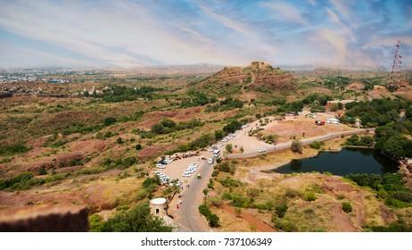Desert City in India Aerial View of Jodhpur Rajasthan