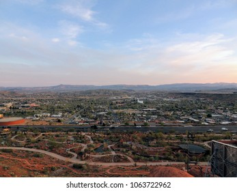 Desert and city panoramic views from hiking trails around St. George Utah around Beck Hill, Chuckwalla, Turtle Wall, Paradise Rim, and Halfway Wash trails in Western USA