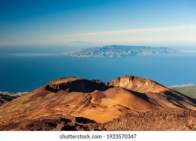 Desert crater and Canary Islands La Gomera and El Hierro in sea from Pico del Teide mountain in El Teide National park. Tenerife, Canary Islands, Spain