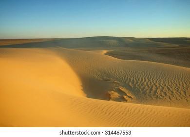 Desert dunes of Sahara near Ong Jemel, Tozeur in Tunisia.