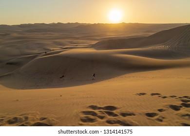 Desert during sunset at Huacachina Oasis in Ica, Peru.