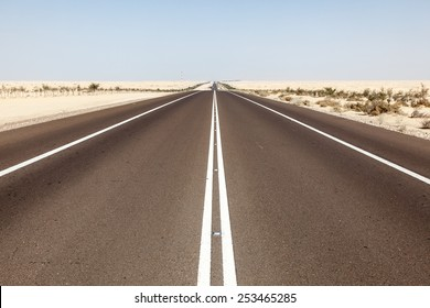 Desert highway in Abu Dhabi, United Arab Emirates