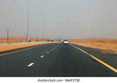 Desert Highway in Dubai, United Arab Emirates