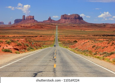 Desert highway leading into Monument Valley, Utah, USA