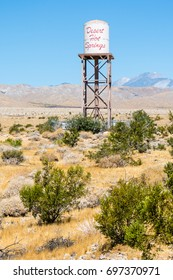 Desert Hot Springs water tank tower - city in the Coachella Valley and Mohave Desert of Southern California.