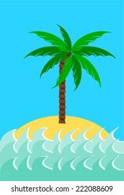 Desert island with palm tree  illustration