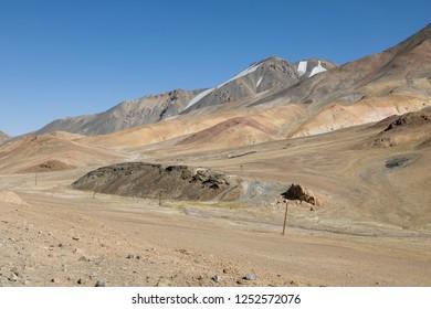 Desert landscape in the Ak-Baital Pass area in the Pamir Mountains in Tajikistan