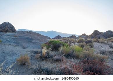 desert landscape Alabama Hills rock formations Eastern Sierra Nevada mountains of California, USA