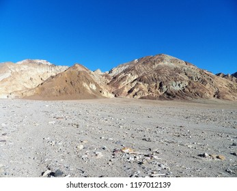 Desert landscape with beautiful geological features and layers in the Death Valley area