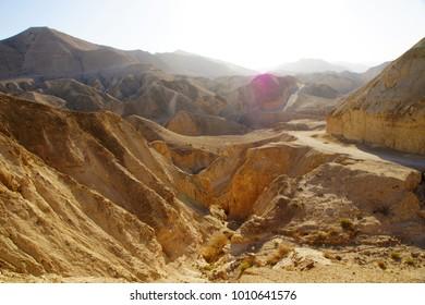 Desert landscape in the Judaean Desert, Israel
