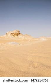 desert landscape, low point of view. Close up sahara nature, depth of field natural background. Barren nature, extreme destinations. Nobody, travel scene. Bahariya egypt. Empty sahara wilderness.
