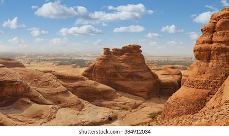desert  landscape, mountain panorama view, saudi arabia