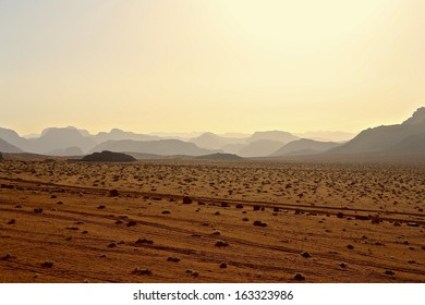 Desert Landscape and Rock Formations and Mountains at Sunset, Wadi Rum, Jordan
