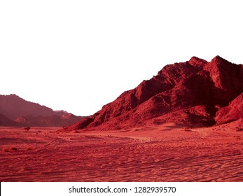 Desert landscape in Sharm El Sheikh Egypt. Red planet mars rock alien landforms mountains isolated on white background. Psychedelic extraterrestrial geomorphology.